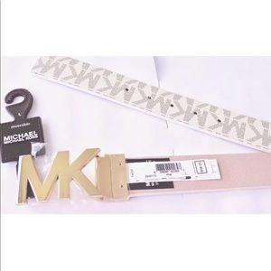 Michael Kors MK Belt Reversible Gold/Vanilla/Pink